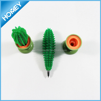 Promotional cute desk rubber cactus pen with pot
