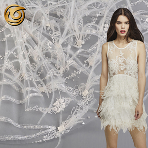 New style popular poly white feather embroidery bridal lace fabric wholesale