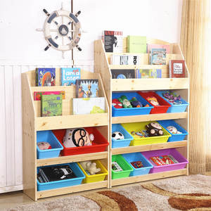 Solid Wooden Frame Toy Organizer Storage with 9 Removable Bins for Playroom Drawing Room 813s