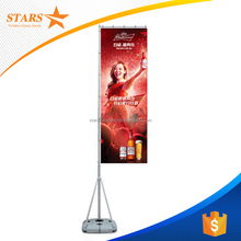 Free Standing Aluminum Telescopic Flag Pole and Banner with Water Base or Sand