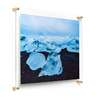 Popular Excel Magnetic Acrylic Picture Frame Double Panel Framing Grade Acrylic Floating Frame with gold Hardware