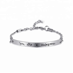 Custom Message Quote Bangle Bracelet You Are Awesome Wholesale Bracelets Stainless Steel Bracelets