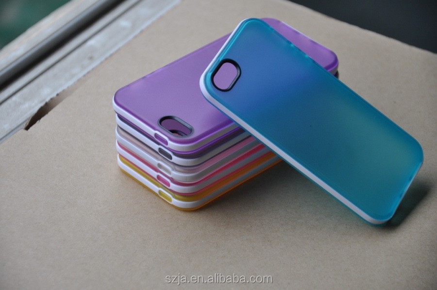 Dual Colour Jelly TPU Soft Transparent Case for iphone5s 6 6s with detachable bumper Free shipping