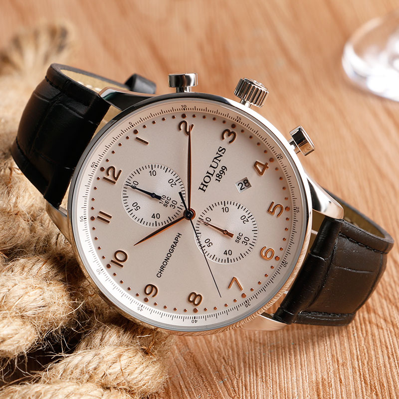 HOLUNS Original Mens Watches Luxury Brand Chronograph Men's Business Casual Leather Dress Calender Hour Clock Relogio Masculino 2017 2018 Best Gifts for Dad HIM (36)