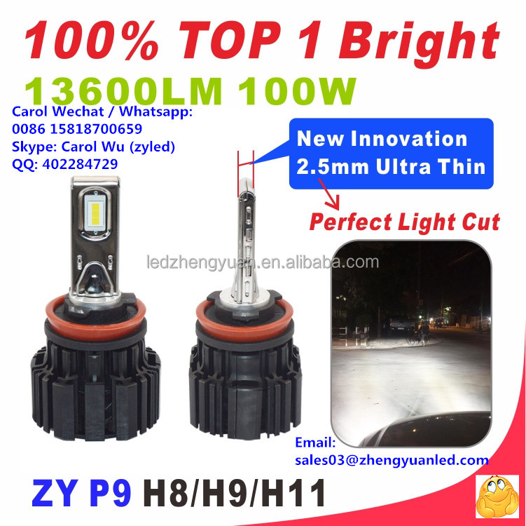 Remarkable TOP 1 Bright P9 6800lm 100W vs l7 6600lm xhp70 xhp50 55W csp hid headlights cars h4 zyled headlight 100w led h7 6000k