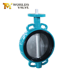 Cast iron Dn150 dn100 bare stem wafer semi wafer butterfly valve rubber lining