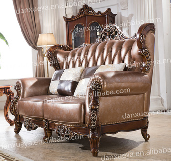 Fancy Antique Victorian Style Leather Wood Trim Sofa