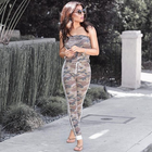 Camouflage Strapless Jumpsuit for women Summer off the shoulder Catsuit Bodycon casual Military Style Skinny Long rompers