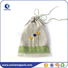 Custom small handmade linen gift bags with logo for packaging