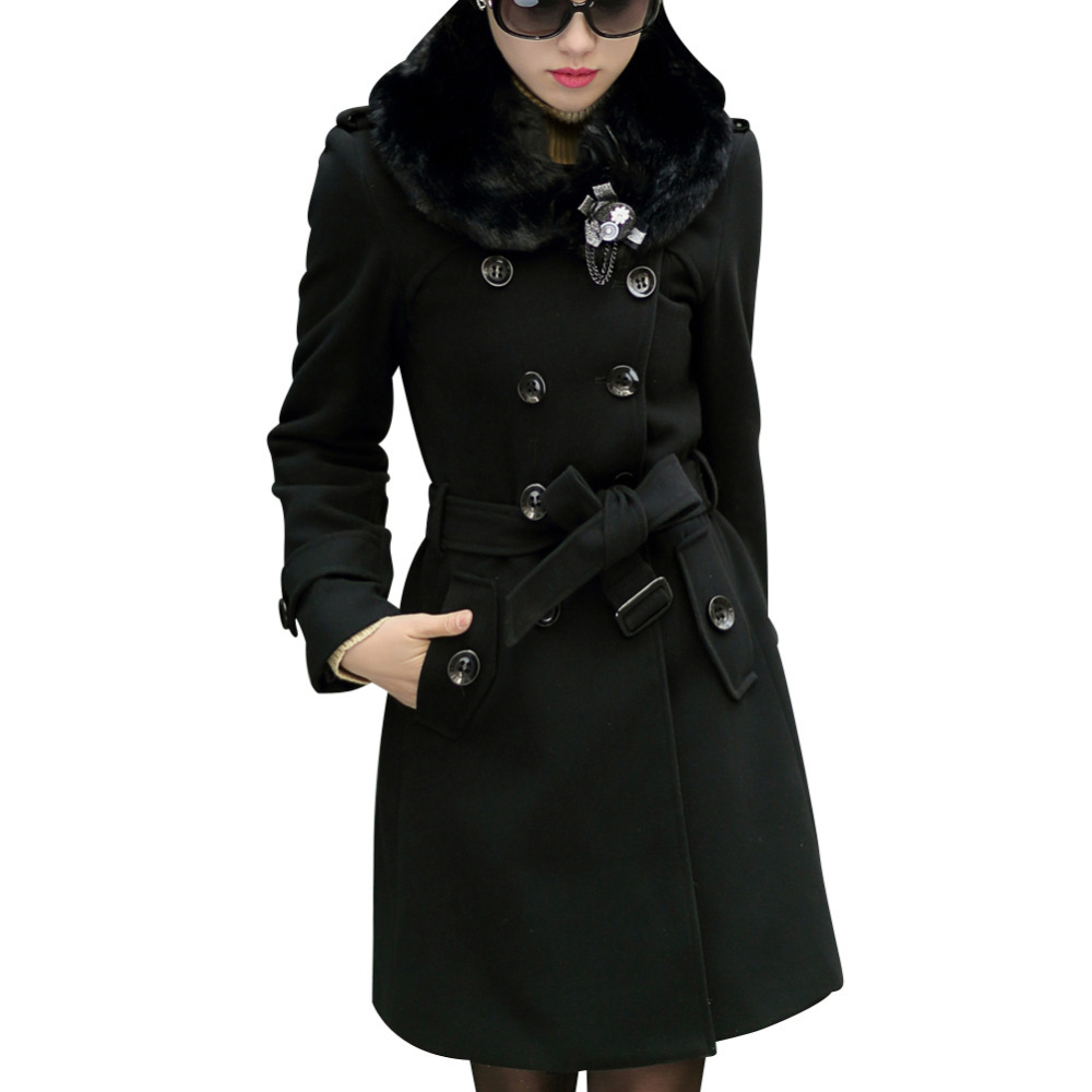 L-5XL ! Elegant Women Long Trench Coats Good Quality 2015 New Double Breasted Winter Woolen Fashion Lady Slim Blend Jackets