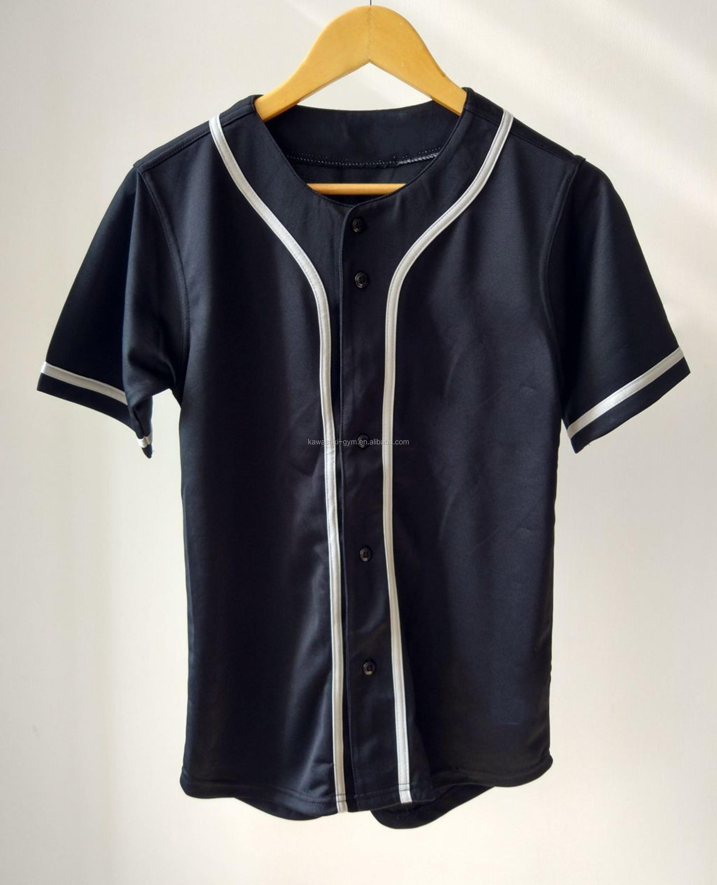 high quality Custom black sewing pattern baseball jersey