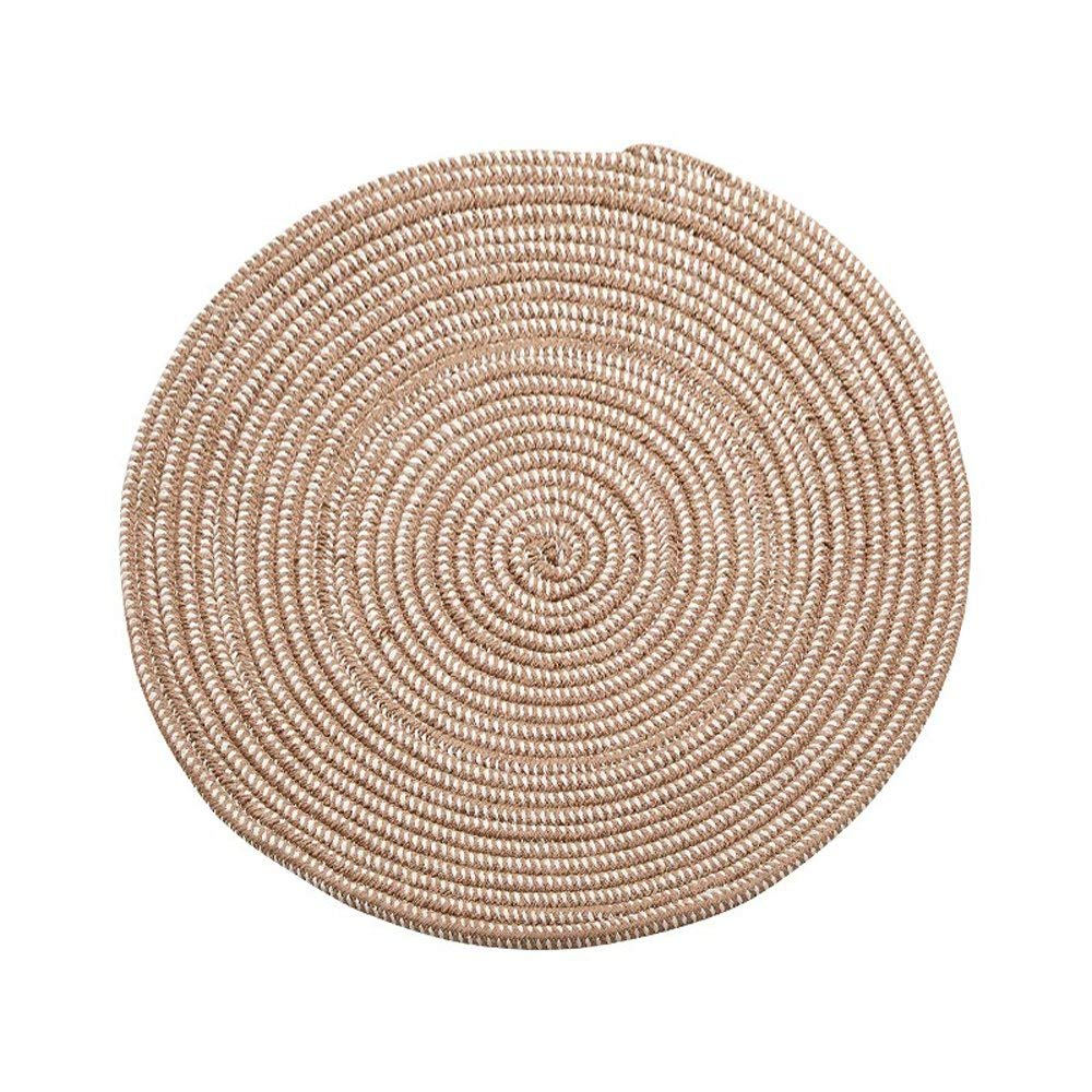 Get Quotations · KEPSWET Round Creative Weave Carpet Mats Rope Design Livingroom Bedroom Home Floor Decoration Rug Brown Durable
