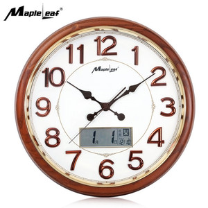 Round wooden Quartz Analog Wall Clock with LCD Digital Display