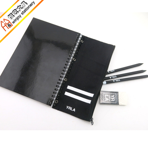 All black stationery set a5 size sprial notebook with pencil bag spiral notebook with different sizes