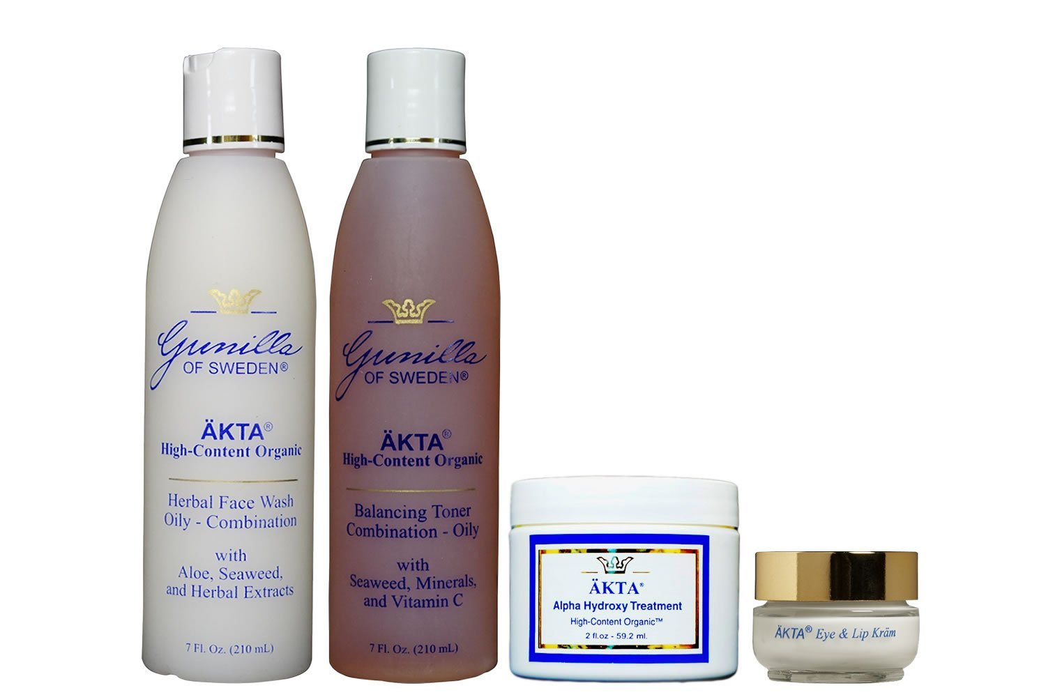 ÄKTA by Gunilla of Sweden Skin Care Organic System (Oily/Combo Skin): Based on Nutrient Rich Organic Aloe. Botanical Extracts & Alpha Hydroxy Acids Provide Anti-Aging Benefits- Alcohol and Oil-Free