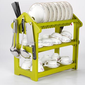 Home Basics 3 Tier Plastic Dish Drainer Rack Green Blue Orange Red