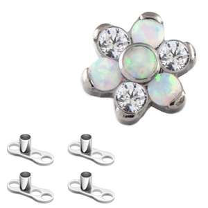 Titanium Cubic Zircon Opal Flower skin diver free sample body piercing jewelry