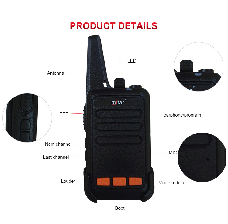Custom wholesale portable two way radio M618 mini wireless walkie talkie for home/school/business