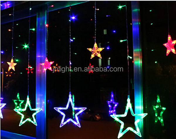 Linkable-Multicolor 2M 138Led Star String Fairy light curtain icicle lamp Wedding Christmas Xmas Party Window Decor 12 drops