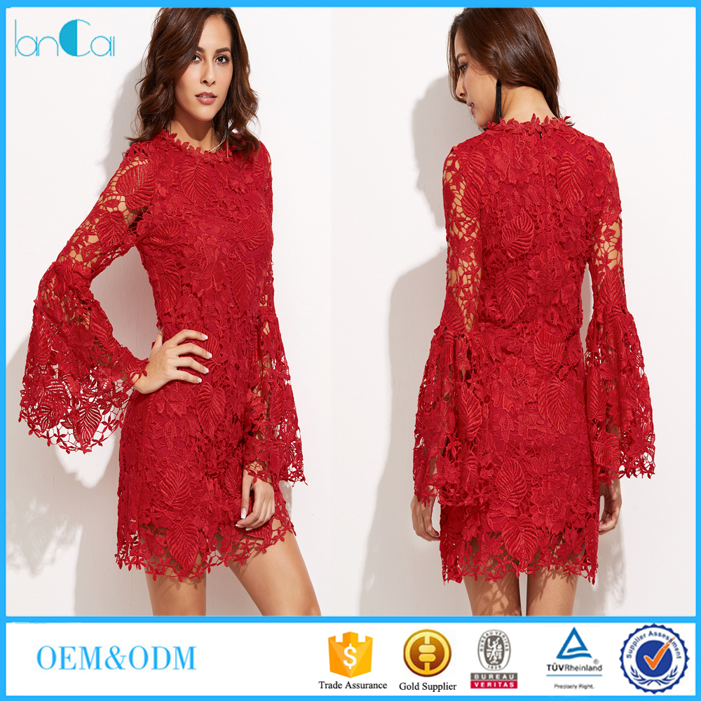 Short lace elegant celebrity dress puff long sleeve sheer red evening dress