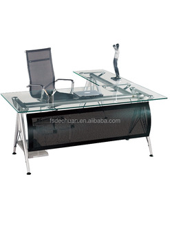 Modern Office Furniture Table Design/ Executive Office Desk/tempered Glass  Computer Desk DC