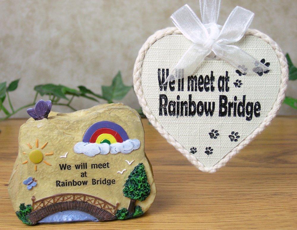 BANBERRY DESIGNS Pet Remembrance Rainbow Bridge Ornament and Decorative Stone Rock - 2 Piece Gift Set