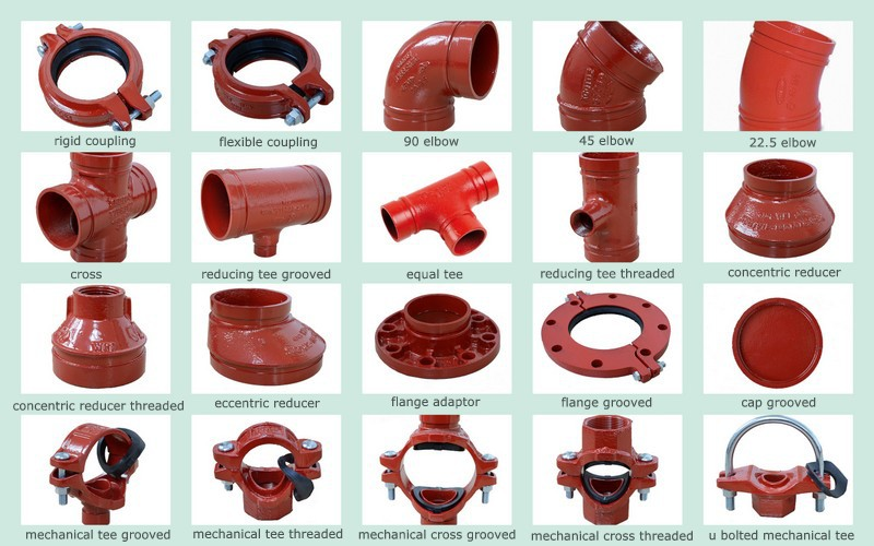 Fm Ul Listed Ral3000 Red Fire Protection Fire Fittings
