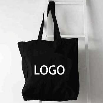 Personalized Black Cotton Cloth Shopping Travel Packing Waxed Custom Logo Printed Canvas Bag