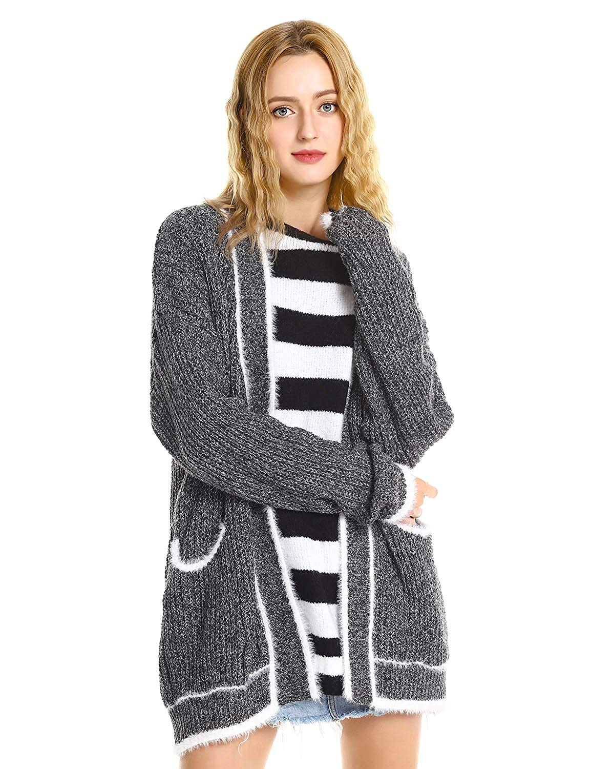 ZAN.STYLE Women Ribbed Knit Open Front Long Cardigan Sweater Coat With Pockets Grey