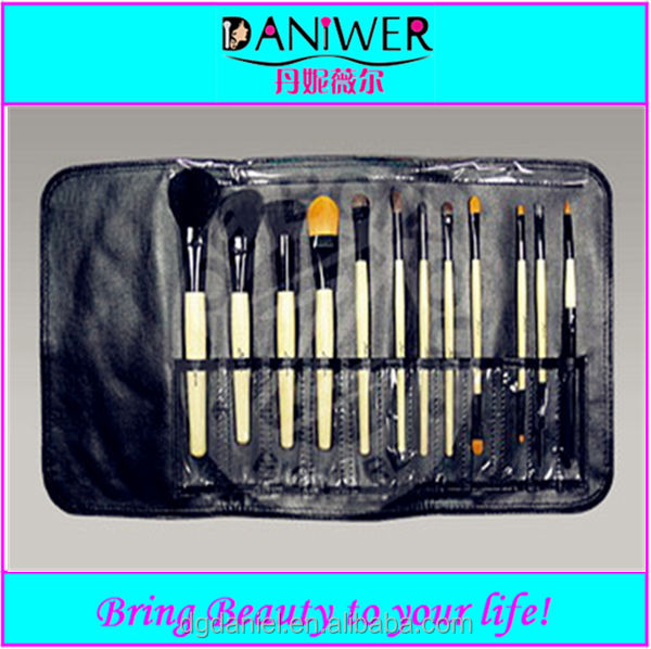 OEM 12pcs multifuntional makeup brush set with black pouch factory directly
