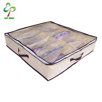 Drawer Underbed Closet Organizer 12-Pair Shoes Bag Shoe Compartment with Clear Vinyl Zippered Top