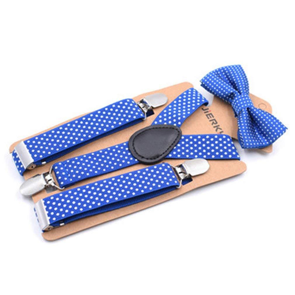 Baby Boys Suspenders Kids Elastic Adjustable Suspenders With Bowtie Set Children Blue