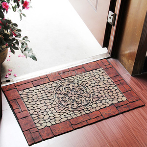 Easy-clean Cobblestone Printing Flocking Floor Rubber Cushion Anti Slip Mat