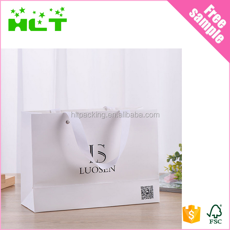 2017 new style recycled paper bag with grosgrain ribbon,white matt paper bag