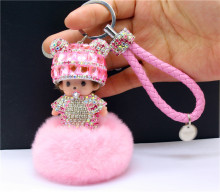 Panda Kiki Keychain Diamond Car Interior Cortex Cute Bag Metal Ornaments Rabbit Ball Ornaments Monchichi Key Buckle