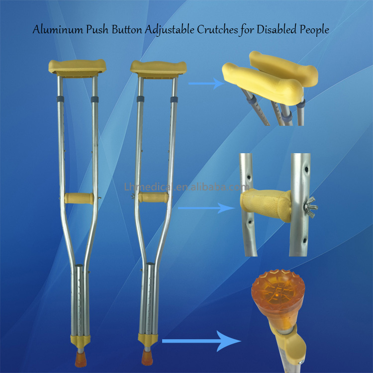 Aluminum Push Button Adjustable Crutches for Disabled People