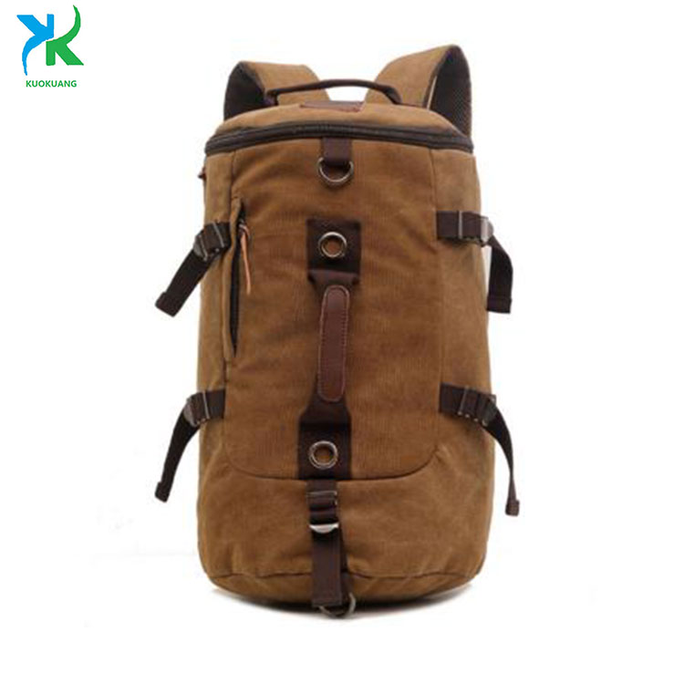 Canvas Backpack Men Cylinder Backpack,Canvas And Leather Backpack Duffel Bag