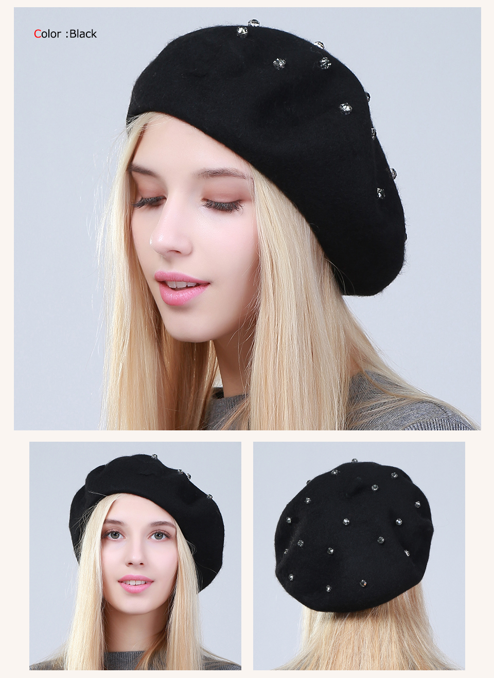 a0f20ad268862 Product Name Geebro Women s Beret Hat Fashion Solid Color Wool Knitted  Berets With Rhinestones Ladies French Artist Beanie Beret Hat GS104