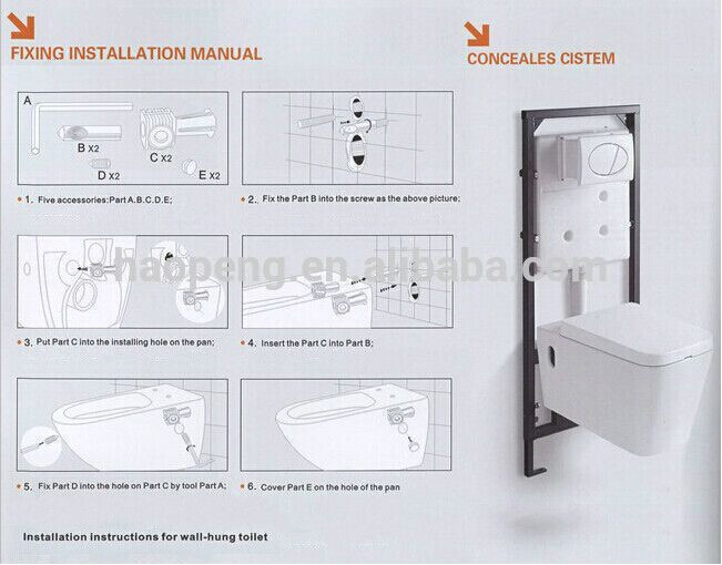 Chaozhou Wall Hung Toilet Wall Toilet Dimensions Wall