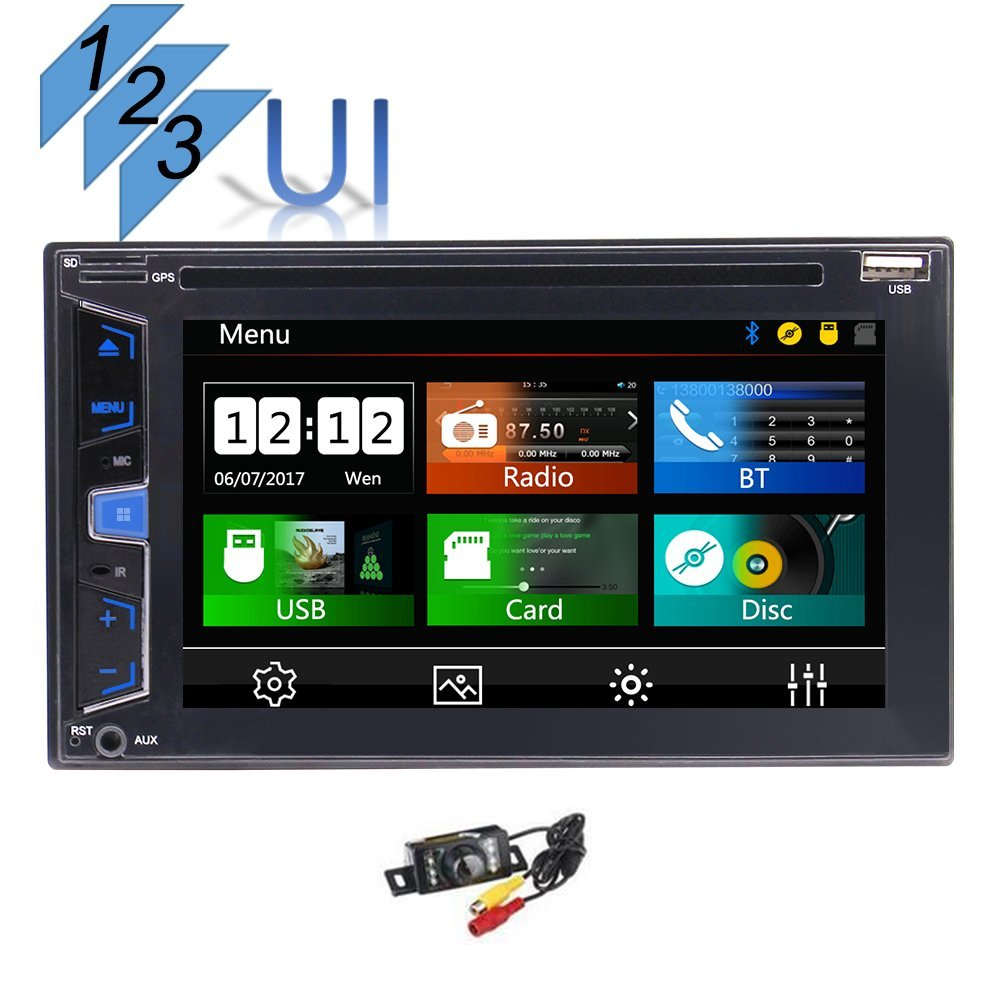 Backup Camera Free!!! Car Stereo EinCar Audio Car Video DVD Player Double Din with 3 UIs, 6.2 Inch Digital LCD Monitor, Capacitive Touchscreen, DVD/CD/MP3/USB/SD AM/FM, Bluetooth, Wireless Remote
