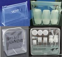 Heat seal silkscreen printing ziplock customized clear pvc cosmetic pouch with zipper