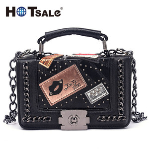 Sofe Lamp Leather Bags Split Joint Design Woman Handbags With Black Bucket Studs