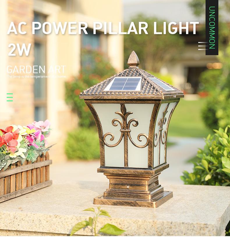 Solar Powered Sensor Waterproof Outdoor Yard Fence Solar Led Post Cap Main Gate Pillar Light for Garden