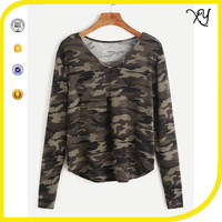women's V Neck camo long sleeve 95 cotton/5 elastane camouflage t shirt