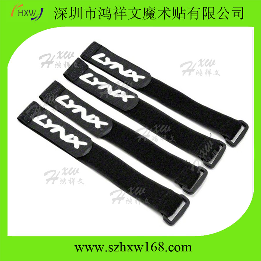 HXW-38*480mm black velcor plastic buckle strap with white logo printing