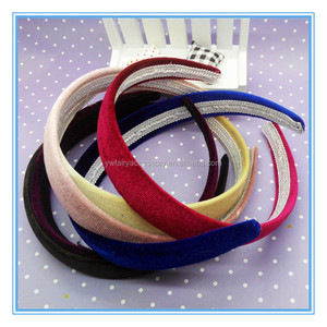 Fashion wide plastic hair band black velvet fabric covered headband