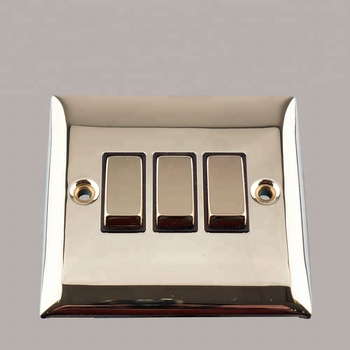 3 Gang 2 Way electrical light switch socket of Brass