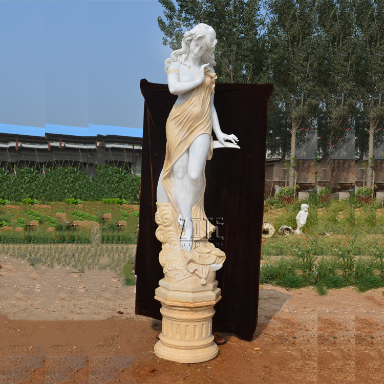 Life size stone lady sculpture shy marble statue of beautiful girl statue