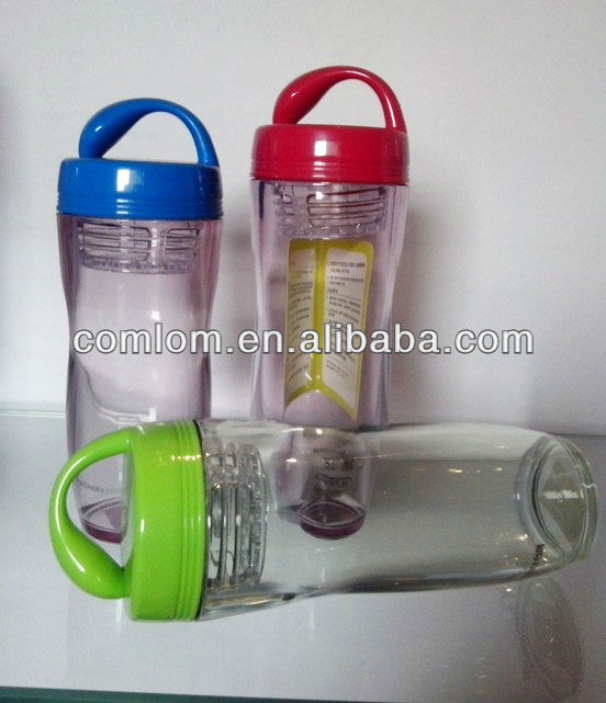 350/420ml transperant AS cute water bottle with sprout shape lid, handle & filter/strainer