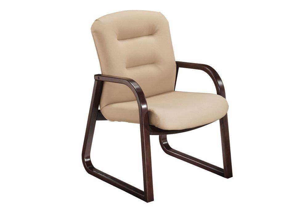 """Remedy Guest Chair Dimensions: 24.75""""W x 26.75""""D x 36""""H Seat Dimensions: 21.75""""Wx18.25""""Dx17.75""""H Stone Vinyl/Cordovan Finish"""